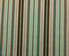 "DESIGNER STRIPED SPA BLUE & CHOCOLATE BROWN EXCLUSIVE FABRIC BY THE YARD 54""W"
