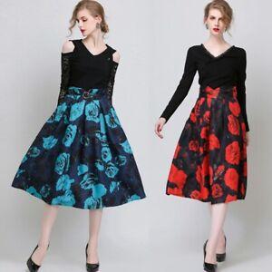 Elegant Women High Waist Rose Print Pleated Ball Gown Midi Hepburn Skirt 50% OFF