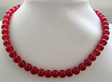 10mm Natural Red jade Round Beads Necklace 18""