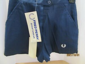 Vintage Fred Perry Navy Blue Shorts USA Small Golf Tennis Sports NEW tags