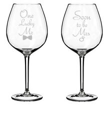 Set of 2 Wine Glasses Jumbo 20oz Glass Engagement Soon To Be Mrs. One Lucky Mr.