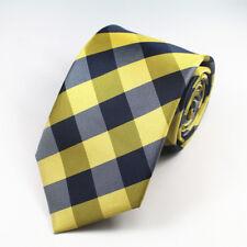 amarillo y Negro Cuadros Estampado Hecho a mano 100% Corbata De Seda
