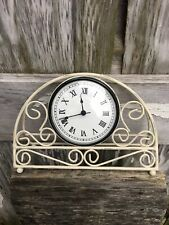 Decorative Off White Metal Desk Clock Pier One Country Farmhouse Works! Battery