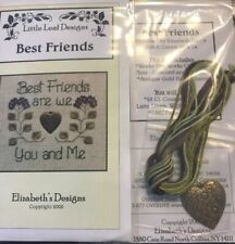 Best Friends You and Me Cross Stitch Little Leaf Elizabeth's Designs Charm Floss