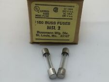 (5 pcs) MSL-2  Bussmann, 2A  250vac, Slow Blow, Glass Fuse