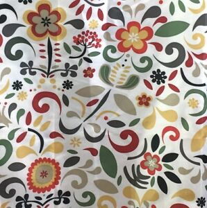 IKEA Akerkulla Scandinavian Floral Shower Curtain 1999 Red Grey Green Gold Taupe