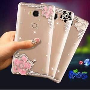 PINK CLEAR DIAMOND DESIGNER BLING DIAMANTE FLOWER CASE COVER GIFT MOBILE PHONES