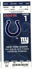 2014 INDIANAPOLIS COLTS VS NEW YORK GIANTS TICKET STUB 8/16/14 LUCAS OIL STADIUM