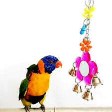 Colorful Parrot Chew Bell Mirror Play Toys Swing Parakeet Birds Hanging Toy