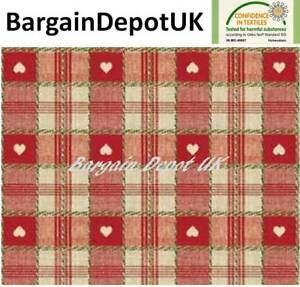 Red Heart Check PVC Wipe Clean Vinyl Tablecloth ALL SIZES - Code: C57-1