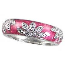 _ROSE PINK ENAMEL FLORAL CZ BAND RING_SZ-8_925 STERLING SILVER