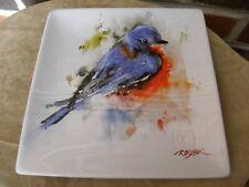 Watercolor Art Bluebird Snack Plate David Crouser Big Sky Carvers Stoneware