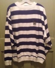 NWT 90sLg Vintage STRUCTURE Sweatshirt Navy & White Striped w Logo,Fleece Lined