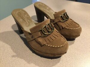 Truflex By Rockport-Women's Shoes-Size 6.5B-Slip On Clogs-Brown Leather-Heel