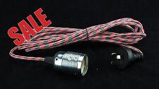 Industrial Retro Vintage Fabric Cord Flex Pendant Light NEW-Black/Red-PLUG IN