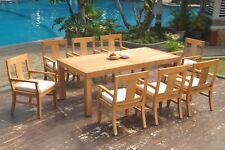 "9pc Grade-A Teak Dining Set 86"" Canberra Rectangle Table 8 Osborne Arm Chair"