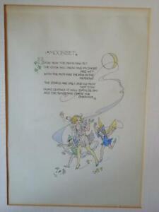 'MOONSET' ORIGINAL WATERCOLOUR BY DOROTHY M WHEELER c1960