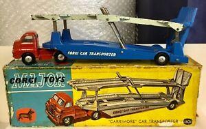 "CORGI 1101""CARRIMORE"" BEDFORD S CAR TRANSPORTER.GOOD WITH ORIGINAL WORN BOX"
