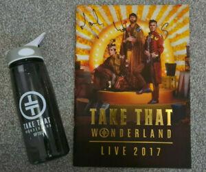Take That Wonderland Live 2017 Hand Signed tour Programme & VIP drinks bottle