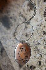 Vintage Reed & Barton Damascene Oval Owl Pendant Necklace