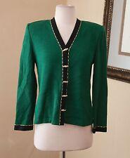 St. John Collection Marie Gray Beaded Knit Blazer Jacket Size 2 Green Black Gold