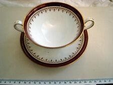 SOUP BOWL + PLATE AYNSLEY DURHAM 1646 FINE ENGLISH BONE CHINA MADE IN ENGLAND qp