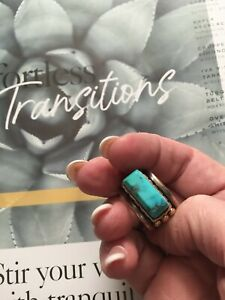 ARTISAN CRAFTED STERLING/GOLD & TURQUOISE STATEMENT CIGAR BAND RING: 6.5-7