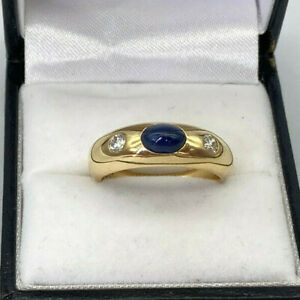 Vintage 18ct Gold Cabochon Sapphire & Diamond Gypsy Ring.  Goldmine Jewellers.