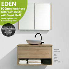 EDEN 900mm White Oak Timber Look Wood Grain Vanity w Towel Shelf & Timber Top