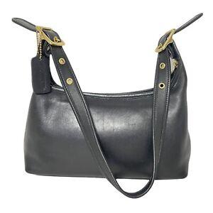 Coach Vintage # 9059 - Black Soft Leather Shoulder Bag - Bronze Hardware