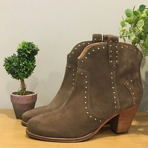 JOHN LEWIS AND/OR QUINCI SUEDE STUDDED ANKLE BOOTS💛TAUPE Size UK 7