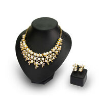 18K Gold Plated Lady Party Luxury Pearl Rhinestone Necklace Earrings Jewelry set