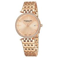 Stuhrling Garland Women's 34mm Rose Gold Steel Bracelet & Case Date Watch 579.04