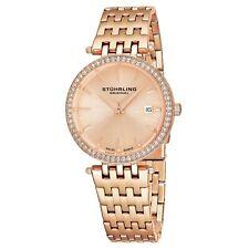 Stuhrling Garland Women's 34mm Rose Gold Steel Bracelet & Case Date Watch 579.04