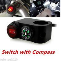 12V Motorcycle Waterproof LED Handlebar Headlight Fog Spot light Swicth Compass