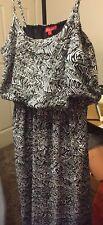 Bella Moda Women's Spaghetti  Strap Patterned Maxi Dress Size 1X Multi-Color