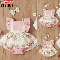 Newborn Baby Girls Floral Outfits Romper Tops Skirt Headband Set Infant Clothes