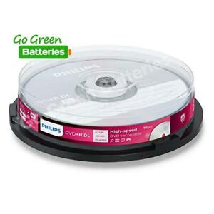 Philips DVD+R DL Blank Recordable Disc 8.5GB 240 Mins 8x Speed 10 Pack Spindle