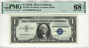 1957 B $1 SILVER CERTIFICATE NOTE FR.1621 XA BLOCK PMG SUPERB GEM UNC 68 EPQ
