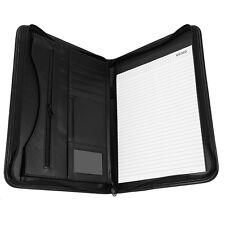 A4 PU Leather Zipped Portfolio Business Conference Folder Organiser Case Bag AM
