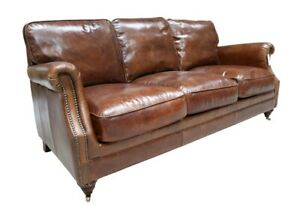 New Distressed Real Genuine Leather Aniline 3 Seater Sofa Couch Brown Top Grain