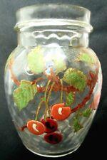 Bocal à bonbons, verre alvéolé Art Nouveau, émaillé Legras: Cerises
