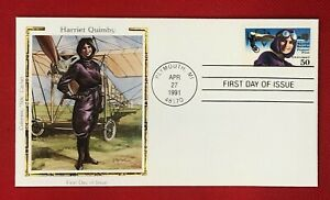 ZAYIX -1991 US FDC Colorano - Harriet Quimby Female Aviation Flight Pioneer C128