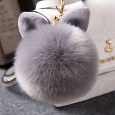 Rabbit Fur Ball PomPom Cell Phone Car Keyv Chain Pendant Handbag Gray Key Ring