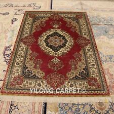 Yilong 4'x6' Pink Handmade Silk Rugs Traditional Porch Carpets Hand Knotted 0119