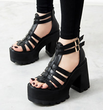 Women High Block Heel Buckle Casual Platform Sexy Party Evening Gladiator Sandal