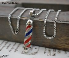 Hip Hop Jewelry Stainless Steel Men's Silver Barber Pole Charm Pendant Necklace