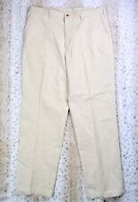 Farah Dress Pants Men's Size 38 x 32 100% Cotton Beige Flat Front Invo: H-13