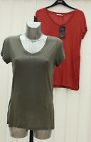 M&S Collection Size 8 10 12 14 Linen Blend V Neck Top Bnwt Rust Khaki rrp £17.50