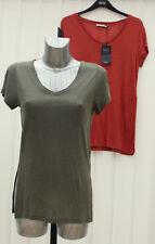 M&S Collection Size 8 10 12 14 Linen Blend V Neck Top Bnwt Rust Khaki rrp £17.50